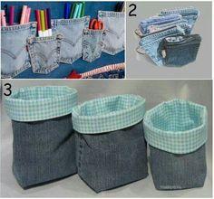 Portaobjetos y cestas de jean