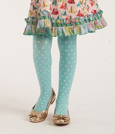 Sky Blue Tights  Soft blue takes center stage on these dreamy polka-dot tights. Wear with aqua to blend in or with reds and corals for a combo worthy of a standing ovation! *All sales on socks and tights are final. - Size X-Small: 12M-2 - Size Small: 2-4 - Size Medium: 4-6 - Size Large: 6-8 - Size X-Large: 8-10 Note: Inseam is measured to toe. Item #: AC15156 $14.00