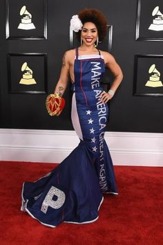 Joy Villa in Pro-Trump Gown on Grammys 2017 Red Carpet | Pret-a-Reporter