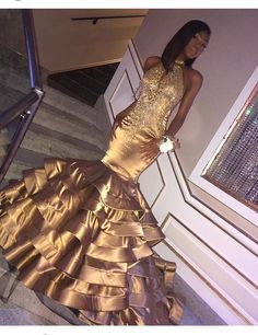 Sparkly Prom Dress, Sexy Tiered Gold Mermaid Tiered Backless African American Black Women Long Prom Dress, These 2020 prom dresses include everything from sophisticated long prom gowns to short party dresses for prom. Black Girl Prom Dresses, Senior Prom Dresses, African Prom Dresses, Gold Prom Dresses, Prom Outfits, Plus Size Prom Dresses, Sexy Dresses, Evening Dresses, Girls Dresses