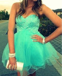 Pretty Blue Short Beadings Prom Dreses, Homecoming Dresses 2015, Graduation Dreses, Party Dresses