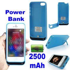iPhone 5 5S Portable 2500mAh Power Bank Charger External Backup Battery Case UK