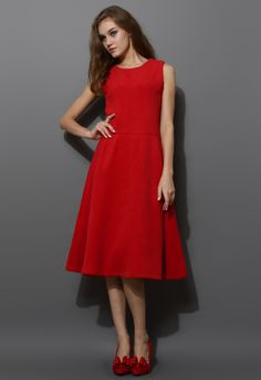 Red Wool-blend Full Midi A-line Dress - Party - Dress - Retro, Indie and Unique Fashion