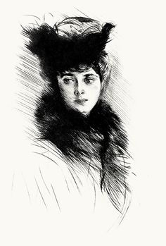 Portrait study of madame Chéruit.  Paul Helleu, from Paul Helleu, peintre et graveur (Paul Helleu, painter and engraver), by Robert de Montesquiou, Paris 1913.