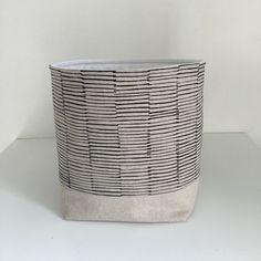 Fabric Storage Basket   Modern Basket   Linen Lines In Black   Storage Bin  By Acraftyhen