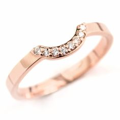 14k Rose Gold Contour Diamond Wedding Band, 6mm - Point No Point Studio - 1