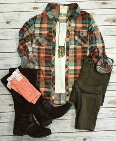 Penny Plaid Flannel Top: Brown top can be worn as long sleeves or a 3/4 top. It is so very soft and comfy! This is a soft stretchy awesome material!