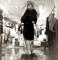 michelle violy harper is walking the dogs (betty blue and candy darling) at new york vintage yesterday in a spectacular vintage 1970s hat.