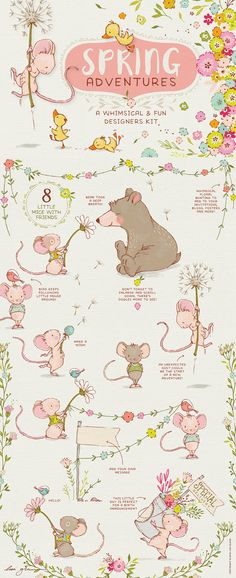 Spring Adventure clipart / bear clip art / mouse / girl nursery wall art / baby announcements / spring floral wreath clipart / nursery decor by LisaGlanzGraphics on Etsy