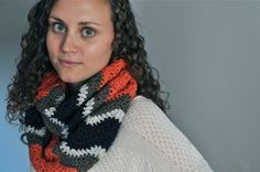 Chevron Crochet Infinity Scarf  Coral & Navy by theComfyTimes, $60.00
