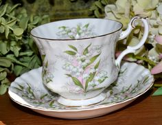 Vintage Royal Albert Springtime Series, Lily of the Valley, Gold Gilt, Fine Bone China Tea Cup and Saucer, England