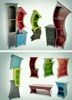 """""""Melting"""" furniture. Great touch and very fun! Can be painted over to match a color scheme so no worries if you dont like the colors shown #funkyfurniture"""