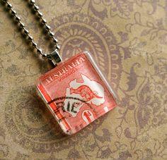 Australian kangaroo vintage postage stamp necklace, by CrowBiz