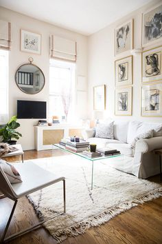 Clear and White Gallery Wall - Living Area