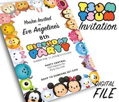 Tsum Tsum Theme Party Invitation by OhWowDesign on Etsy https://www.etsy.com/listing/263585864/tsum-tsum-theme-party-invitation