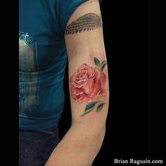 Peach Rose Portrait Tattoo by Brian Ragusin Arm Tattoos, Flower Tattoos, Tattoo Colors, Peach Rose, Realism Tattoo, Amazing Tattoos, Flower Art, Watercolor Tattoo, Sick