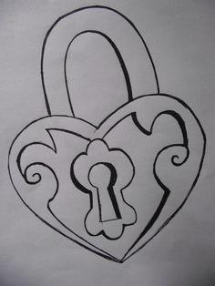 easy drawings drawing cool pencil simple tattoo designs lock key idea sketches paper creative cartoon
