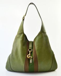 8869b9a26547 Gucci Green Leather Canvas Stripe Jackie Hobo Handbag Bag Hobo Handbags,  Gucci Handbags, Luxury