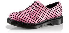 Dr Doc Martens Pink Black Dot Soft Leather Shoes <3