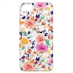 Colorful Sweet Pink Floral Pattern iPhone 5 Case. By LorrieM.