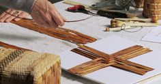 Cedar Basket Weaving Video Chapters Prepping: Gathering and preparing materials and tools Base: The foundation for a basket always begins here Twining: A basketry technique in which two horizontal strands, or one stand folded in half, cross over each other in between the vertical strands Up-Setting the Spokes: The spokes are the foundation or base of the basket. They also continue vertically up the side of the basket. After the base of the basket is woven, the spokes are bent upwards to ...