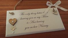 PERSONALISED shabby chic gift for nanny nan grandma birthday wood quote plaque in Plaques & Signs | eBay