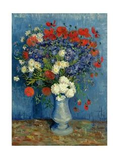 Giclee Print: Still Life: Vase with Cornflowers and Poppies, 1887 by Vincent van Gogh : 24x18in