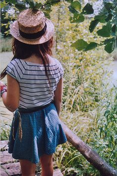 straw hat striped stripes shirt indie skirt skater blue white summer clothes fashion cute brown hair nature