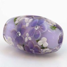 Lampwork Floral Bead Lilac Purple Flowers by LampworkJewels