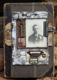The Little Shabby Shed: Vintage Book Good jumping off idea.use authentic instead of facsimiles. Good ideas here for vintage scrapbook page. Looks like it was made 100 years ago - I love it! Journal Covers, Book Journal, Book Covers, Art Journals, Book Libros, Altered Book Art, Altered Canvas, Carton Invitation, Heritage Scrapbooking