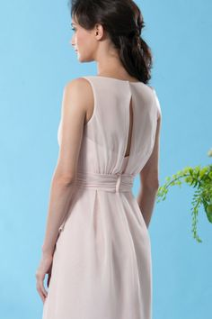 Eden Bridesmaids 7446 A Modern Chiffon Gown Made Sleeveless With Sweetheart Bodice And Sheer Boat