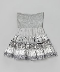 Take a look at this Silver Metallic Tiered Skirt by Zoe on #zulily today!