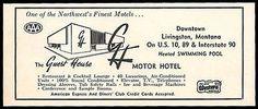 GH Motor Hotel Ad Guest House Livingston Montana Pool 1953 Roadside Ad Travel