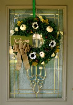 Fall Wreath with Welcome Sign for Front Door, Burlap Wreath for Fall, Green Wreath, Pumpkin Wreath, Autumn Foliage Decor, Sunflower Wreath