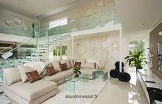 Lammi-Kivitalo villa Ilo - Olohuone | Asuntomessut White Decor, Interior Inspiration, Sweet Home, Living Room, Modern, House, Snow White, Spaces, Stone