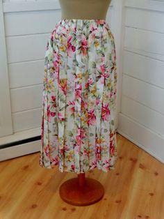 Vintage Midi Skirt Pleated Floral Marisa Christina by BosVintage