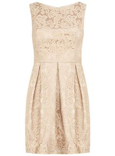 Champagne lace dress <3 | this could be very cute for a wedding rehearsal/dinner