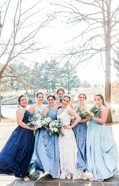 Blue Bridesmaid Dresses for a #MaggieSottero wedding - Lieb Photographic #Maggiebride #somethingblue #bridesmaids #weddingparty #winterweddings