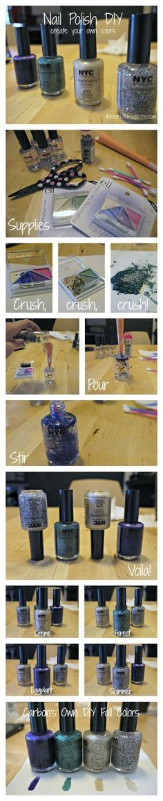 Turn your old eyeshadow to nail polish! Such a fun and easy DIY to do. Can create custom colors by this method too  this is so cool, definitely trying over break