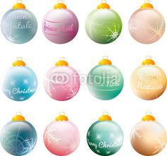 Vettoriale: colorful #christmas baubles with #greetings and #snowflakes