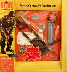 The Demolition set features a working battery operated mine detector. Vintage Toys 1960s, 1960s Toys, Retro Toys, Gi Joe, Nerd Cave, Childhood Games, Happy 50th Birthday, Christmas Catalogs, Toys Shop