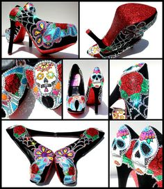 Sugar Skull Heels with Swarovski Crystals and by WickedAddiction,
