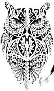... TATTOO  Tatuagem profissional: SABIO TATTOO DESENHANDO MAORI CORUJA