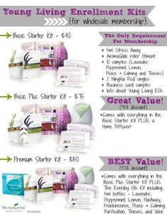 Young Living Starter Kits!  Contact me for more info!! youngliving.pure@gmail.com www.ylscents.com/pure Find us on Facebook at www.facebook.com/pureoils