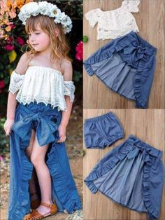 Girls Lacey Off Shoulder Top And Ruffled Denim Hi-Low Skirt Set - Casual Spring Set Frocks For Girls, Dresses Kids Girl, Little Girl Outfits, Toddler Girl Outfits, Kids Outfits Girls, Bow Skirt, Skirt Set, Baby Girl Fashion, Kids Fashion
