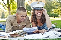 Cute photo with all the letters they've sent eachother - military/marines.