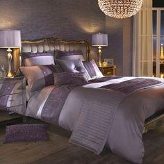 Kylie Minogue at home Lilac satin bed linen- at Debenhams Mobile Purple Bedding Sets, Purple Bedrooms, Luxury Bedding Sets, Purple Bedroom Design, Lilac Bedroom, Purple Duvet, Modern Bedrooms, Kylie Minogue At Home, Satin Bedding