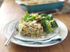 Mushroom Leek and Barley Bake with a side salad! Perfect lunch or light dinner before or after shopping!