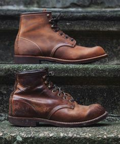 Red Wing Shoe Co.The 3343 Blacksmith in Copper Rough & Tough leather will patina - Leather Boots - Ideas of Leather Boots - Red Wing Shoe Co.The 3343 Blacksmith in Copper Rough & Tough leather will patina with wear. : for Marge White Red Wing Boots, Leather Men, Leather Shoes, Mens Boots Fashion, Vintage Boots, Vintage Leather, Cool Boots, Look Fashion, Jeans And Boots