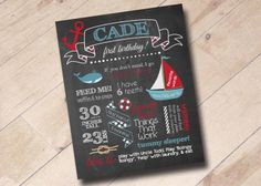 First Birthday Chalkboard Stats Poster Print  Nautical by areUin, $18.00